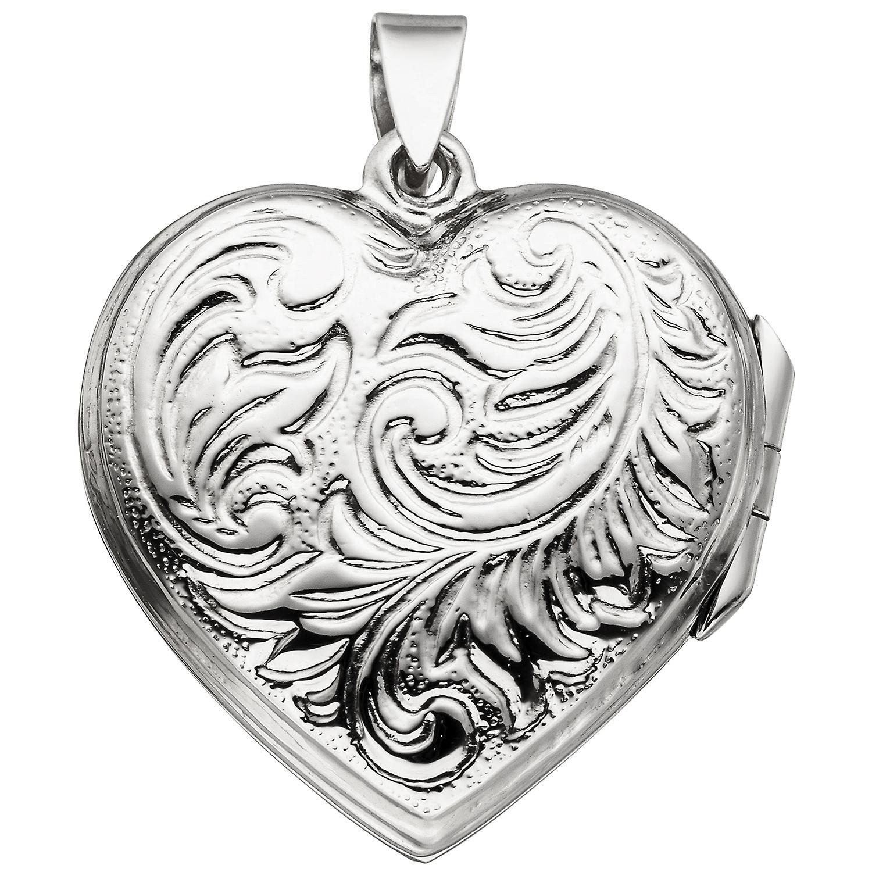 Damen Medaillon Herz zum Öffnen für 2 Fotos 925 Sterling Silber Herzanhänger