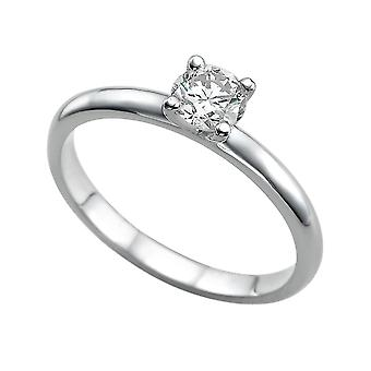 0.4 karaat G VS1 Diamond Engagement Ring 14K White Gold Solitaire Plain Classic