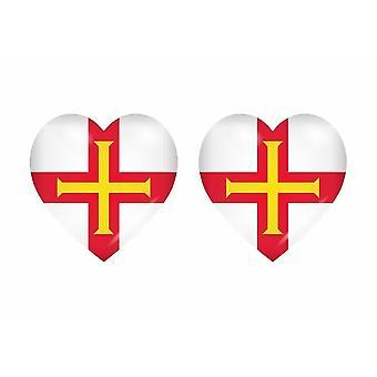 2x عصا ملصقا العلم القلب GBG guernsey