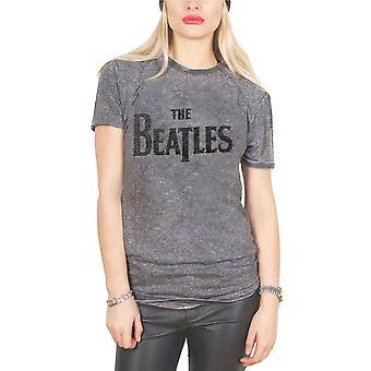 The Beatles T Shirt Drop T caviar Beads Logo new Official Womens Acid Wash