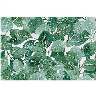 Square crystal velvet rug Ink-style plant-printed carpet Simple and elegant for bedroom and living room