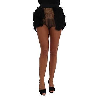 Dolce Gabbana черного норки нутрии меха мини-шорты--SKI1717936 &