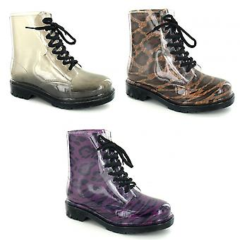 Spot On Womens/Ladies Transparent Chunky Heel Boots