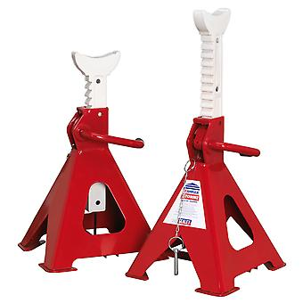 Sealey Aas5000 Axle Stands (Pair) 5Tonne Capacity Per Stand Auto Rise Ratchet