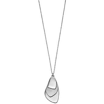 Elements Silver Brush Textured Layered Pendant - Silver