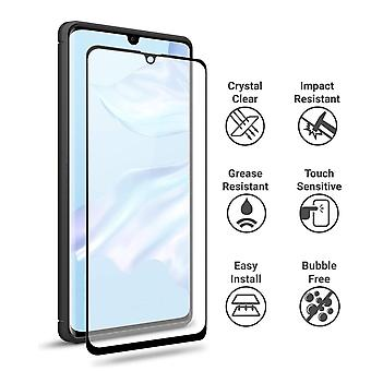 Huawei P30 comprehensive screen protector tempered glass - black