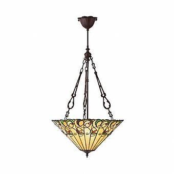 3 ljus stor inverterad tak hänge mörk brons, Tiffany glass