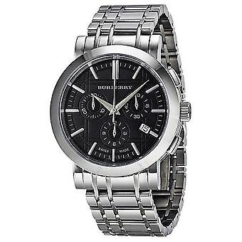 Burberry Heritage Chronograph Black Dial Stainless Steel Men's Watch