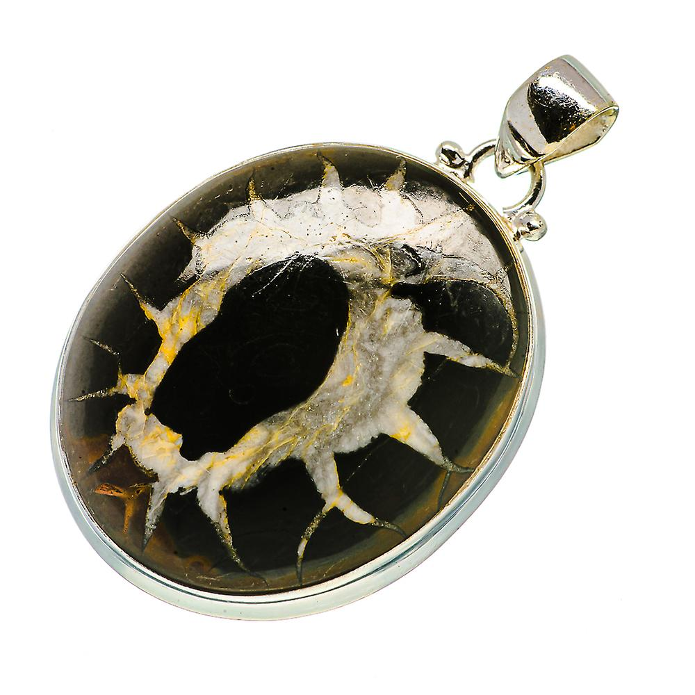 """Septarian Geode Pendant 1 7/8"""" (925 Sterling Silver)  - Handmade Boho Vintage Jewelry PD730267"""