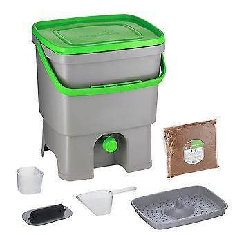 Skaza Bokashi Organko gerecycled plastic keuken compost container | 16 L| Startersset voor keukenafval en compostering | Grijs-Groen