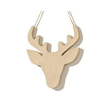 18cm Pappmaché hängen Weihnachten Rentier Kopf - Hirsch oder Rudolph
