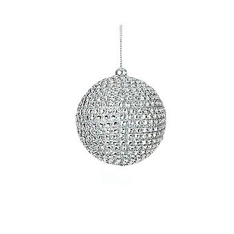 7cm Silver Diamante Bauble for Tree and Home