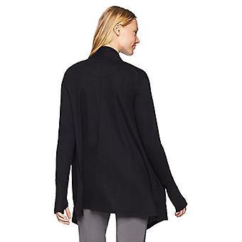 Marke - Mae Women's Loungewear Drapey Cardigan, Schwarz, L
