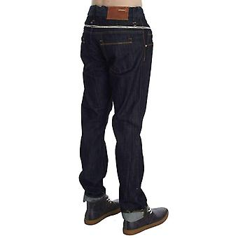 Blue Cotton Regular Straight Fit Jeans -- SIG3947653