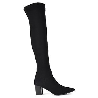 Ash CHARLINE Thigh Heeled Boots In Black Knit
