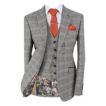 Men's QUINCY Stone Brown Slim Fit Retro Check Suit