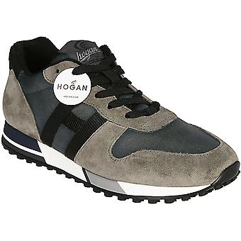 Hogan Men's fashion round toe sneakers shoes in multicolor leather and fabric