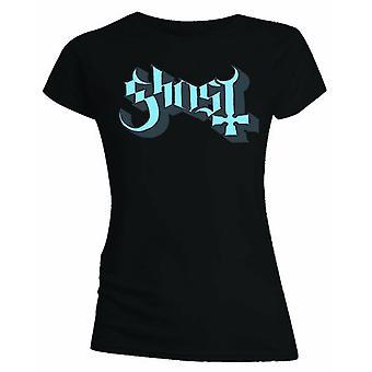 Ladies Ghost Blue/Grey Keyline Logo Official Tee T-Shirt Female