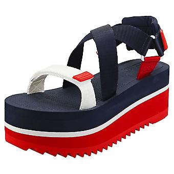 Tommy Jeans Pop Color Womens Flatform Sandals in Navy White Red