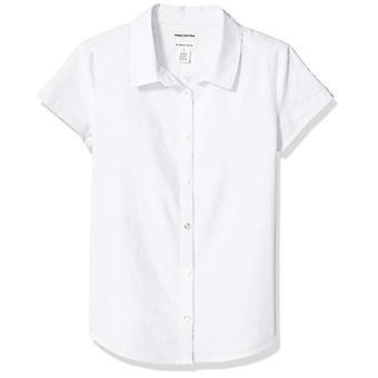 エッセンシャルズ ビッグ ガールズ&アポス プラス半袖オックスフォードシャツ、ホワイト、XL(P)