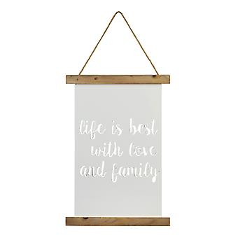 Natural White and Rope Life with Love and Family Wall Art