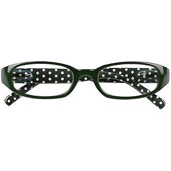 Reading glasses Unisex Libri_x dots green/white thickness +2.00