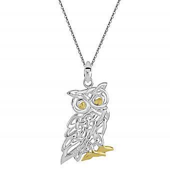 Heritage Sterling Silver Celtic Creatures Owl Gold Plate Pendant 9257GD