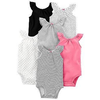 Simple Joys by Carter's Baby Girls' 6-Pack Sleeveless Bodysuit, Black, White ...