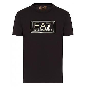 EA7 Men's Black And Gold T-shirt