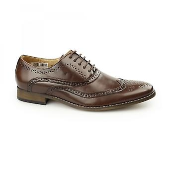 Goor Tommy Mens Lace Up Brogue Oxford Shoes Brown