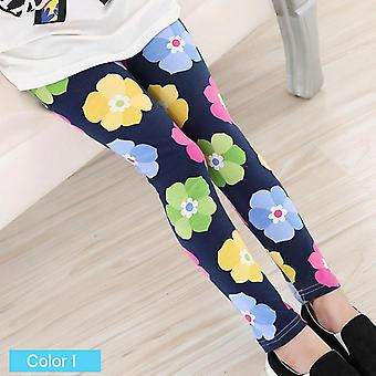 Soft Girls Leggings Pencil Pants Flower Print For Children Set-1
