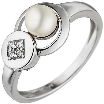 حلقة المرأة 925 الاسترليني الفضة 1 لؤلؤة المياه العذبة 4 زيركونيا الفضة خاتم