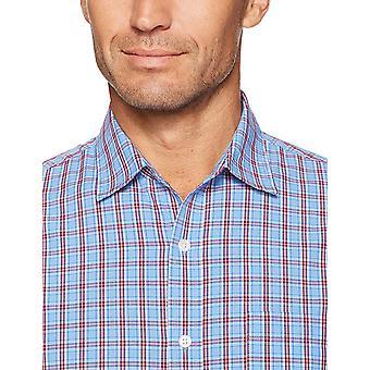 أساسيات الرجال & apos;ق العادية تناسب طويلة الأكمام عارضة قميص بوبلين, الأحمر / الأزرق ...