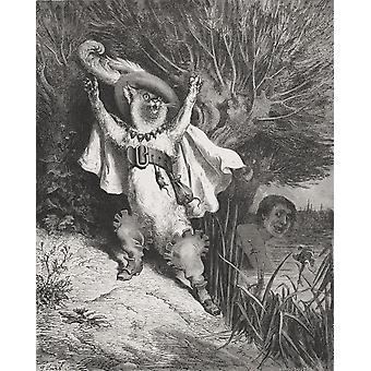Engraving By Gustave Dore 1832-1883 French Artist And Illustrator Of Puss In Boots From Fairy Realm By Tom Hood PosterPrint
