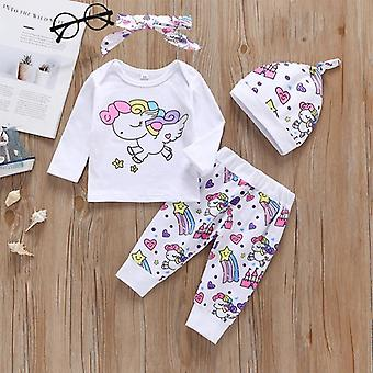 Newborn Infant Toddler Baby Girl Clothes Sets Unicorn Pegasus Star Castle