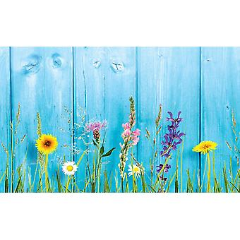 Wallpaper Mural Wild Flowers On Wooden Wall (400x260 cm)