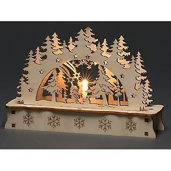 Konstsmide Wood Silhouette Lit Tree & Santa 3236-100