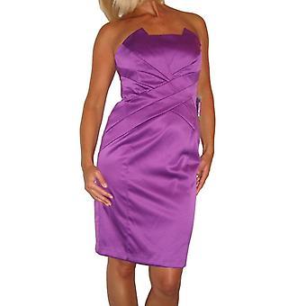 Femmes's Bodycon Robe bustier Dames Bandeau Satin Au-dessus du genou désossé crayon Soirée Spéciale Occasion Partie Cockatail Robe Pourpre Taille 8
