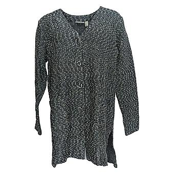 Susan Graver Women's Sweater Novelty Slub-Knit Cardigan Gray A372454