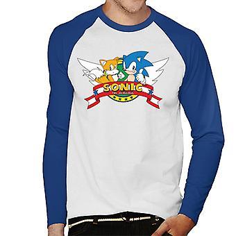 Sonic The Hedgehog Beta Sonic Logo Men's Baseball Pitkähihainen T-paita
