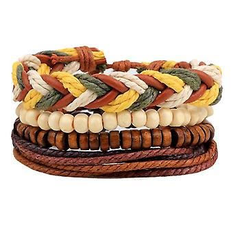 Men Multilayer Wax Rope Colorful Bracelet Retro Wooden Beaded Wristband