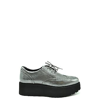 Hogan Ezbc030240 Women's Silver Leather Lace-up Shoes