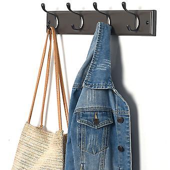 4 Double Hook Wall Mounted Door Clothes Hanger Coat Rack in Charcoal Grey