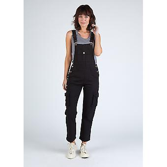 Daisy womens dungarees with roll-up leg - black