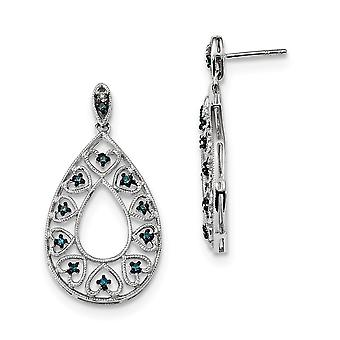 925 Sterling Silver Open back Dangle White and Blue Diamond Post Earrings Jewelry Gifts for Women