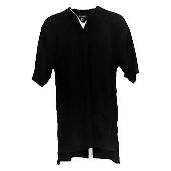 H By Halston Women's Sweater Open Front Scallop Trim Cardi Black A354119