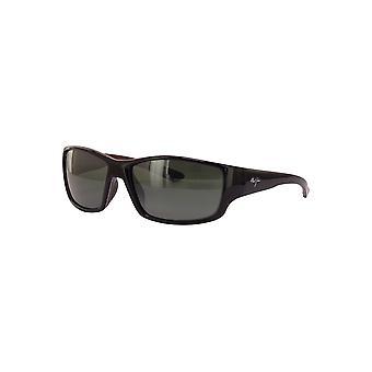 Maui Jim Local Kine 810 07E Shiny Black with Grey and Maroon/Neutral Grey Sunglasses
