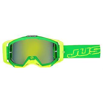 JUST1 Iris Motocross Goggles Neon Green Yellow Anti-Fog Anti-Scratch Lens