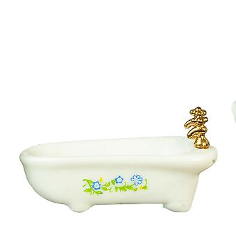 Dolls House White Bath Tub With Blue Flowers Miniature Furniture 1:24 Half Inch