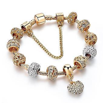 Luxus Kristall Herz Charm Armband